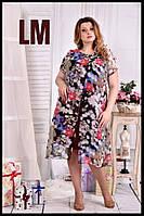 До 74 размера, Красивое летнее платье шифоновое большого размера с цветами батал сарафан 770548