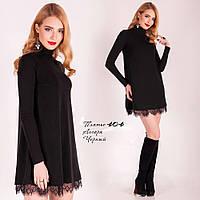 Короткое черное нарядное платье. Размеры до 56