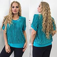 Женская летняя блуза гафре большие размеры