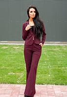 Женский деловой костюм с брюками клеш летний