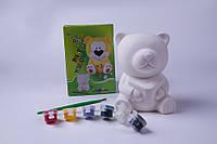 """Набор для детского творчества """"Медведь-копилка"""",и кисть, гипсовые фигурки для творчества"""