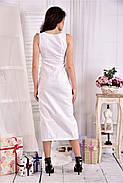 Женское льняное платье 0550 цвет белый размер 42-74 / больших размеров , фото 2