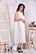 Женское льняное платье 0550 цвет белый размер 42-74 / больших размеров , фото 3