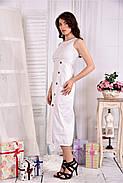 Женское льняное платье 0550 цвет белый размер 42-74 / больших размеров , фото 4