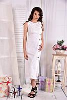 Женское льняное платье 0550 цвет белый размер 42-74