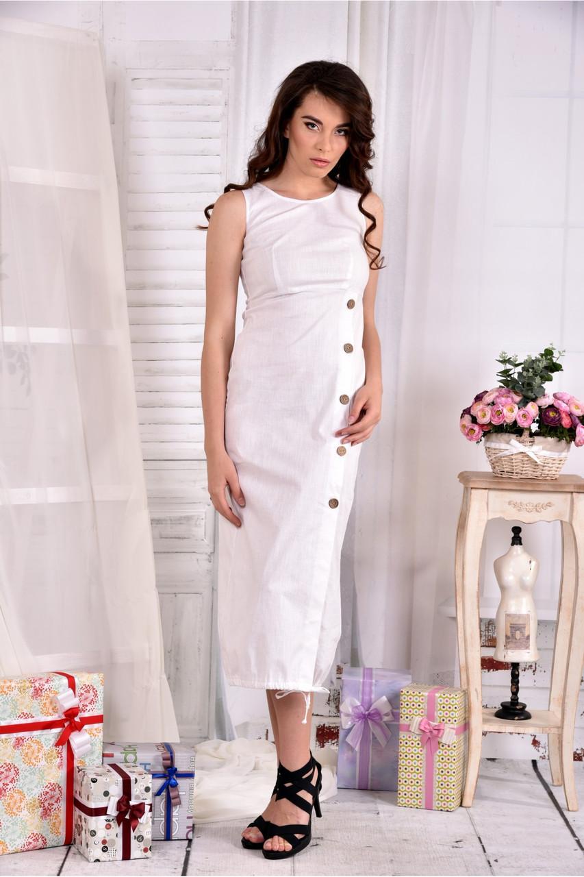 Женское льняное платье 0550 цвет белый размер 42-74 / больших размеров