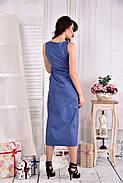 Женское льняное платье 0550 цвет джинс размер 42-74, фото 2