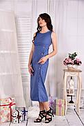 Женское льняное платье 0550 цвет джинс размер 42-74, фото 3