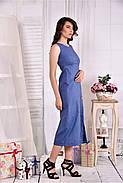 Женское льняное платье 0550 цвет джинс размер 42-74, фото 4