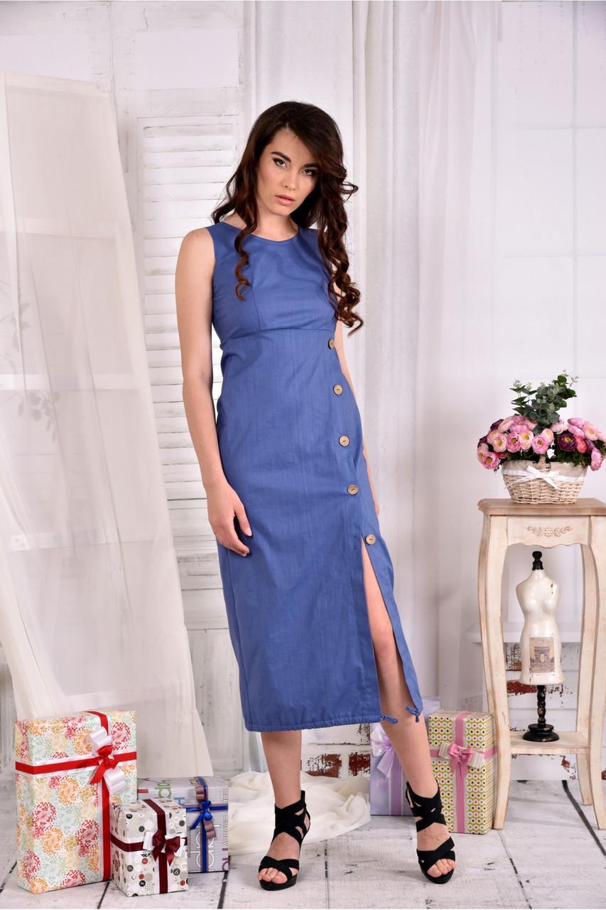 Женское льняное платье 0550 цвет джинс размер 42-74
