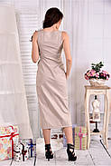 Женское льняное платье 0550 цвет беж размер 42-74, фото 2