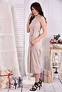 Женское льняное платье 0550 цвет беж размер 42-74, фото 3