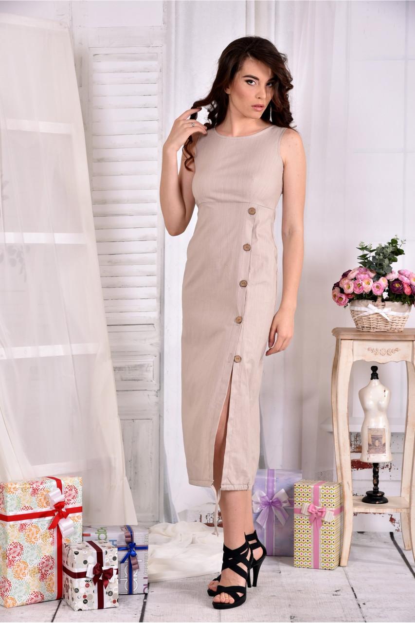 Женское льняное платье 0550 цвет беж размер 42-74
