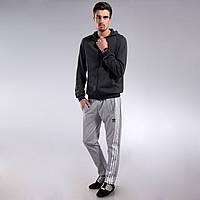 Мужские спортивные штаны Adidas светло-серые с полосками M, L, XL, XXL