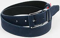 Замшевый брючный мужской  ремень Skipper 5581-3 синий ДхШ: 121х3,5 см.