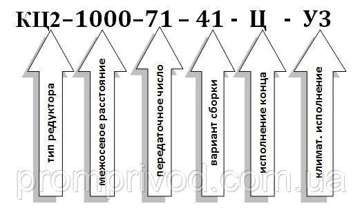 Условное обозначение  редуктора типа КЦ2-1000: