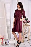 Женское платье из габардина 0549 цвет бордо размер 42-74 / больших размеров , фото 3