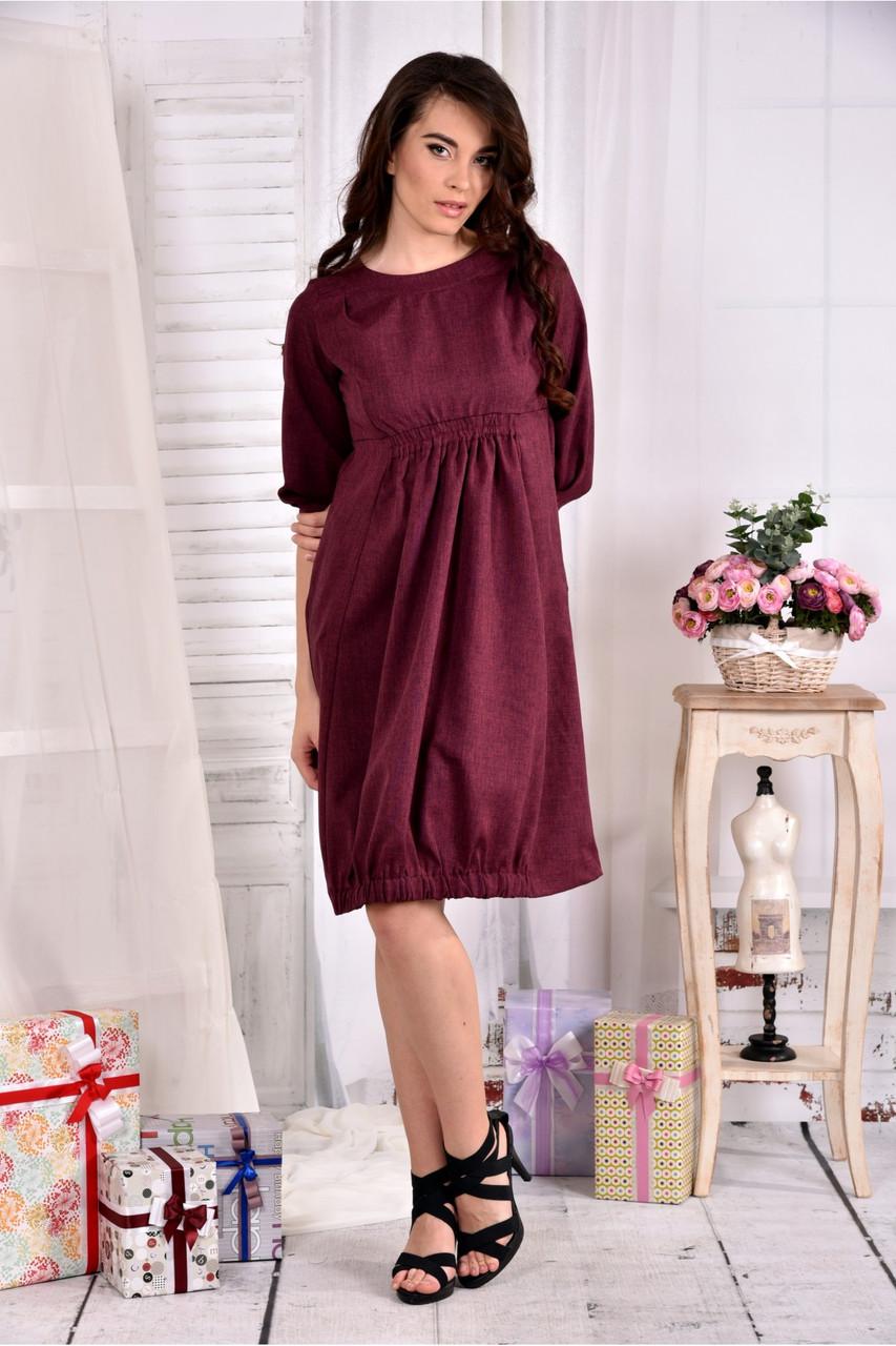 Женское платье из габардина 0549 цвет бордо размер 42-74 / больших размеров