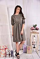 Женское платье из габардина 0549 цвет беж размер 42-74 / больших размеров
