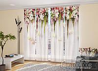 """Японские фотошторы """"Ламбрекены из цветов"""" 2,40*1,20 (2 панели по 60см)"""