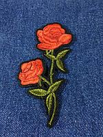 Нашивка Роза 2 бутона цвет красный