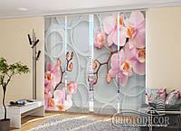 """Японские фотошторы """"Орхидеи и узор"""" 2,40*2,40 (4 панели по 60см)"""