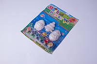 Набор гипсовых фигурок для детского творчества 3 шт. краски(6 цветов) и кисть, гипсовые фигурки для творчества