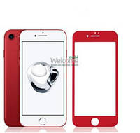 Защитное стекло iPhone 7 (0.3 мм, 3D, красное, полное,с олеофобным покрытием, и покрытием Silk Screen)