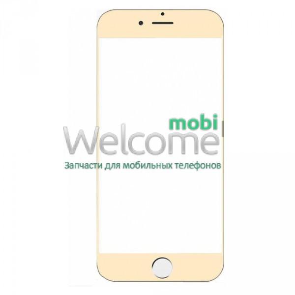 Защитное стекло iPhone 7 Plus (0.3 мм, 3D, золото, полное,с олеофобным