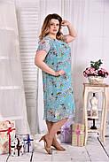 Женское платье мятного цвета дизайн цветы 0548 размер 42-74 / больших размеров , фото 2