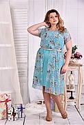 Женское платье мятного цвета дизайн цветы 0548 размер 42-74 / больших размеров , фото 3