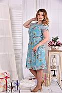 Женское платье мятного цвета дизайн цветы 0548 размер 42-74 / больших размеров , фото 4
