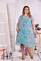 Женское платье мятного цвета дизайн цветы 0548 размер 42-74