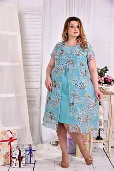 Женское платье мятного цвета дизайн цветы 0548 размер 62 / больших размеров