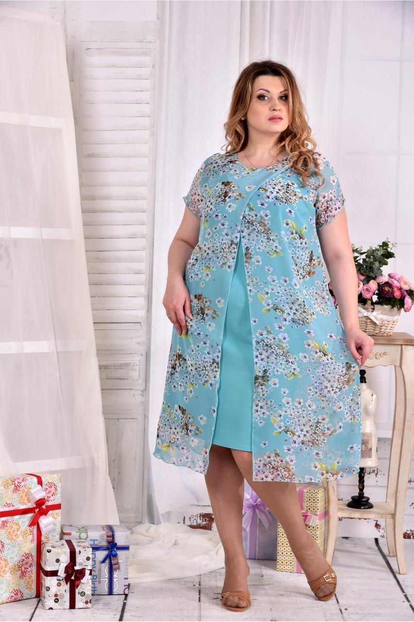 Женское платье мятного цвета дизайн цветы 0548 размер 42-74 / больших размеров