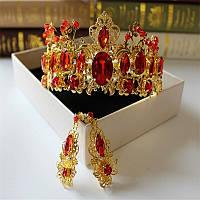 Комплект корона, диадема, тиара с  серьгами в золоте с красными камнями , высота 6,5 см.