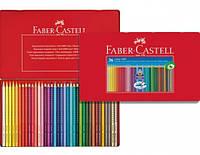 Цветные карандаши Faber-Castell акварельные 24 цвета GRIP 2001 трехгранные  в металлической коробке 112423