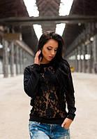Женский черный свитшот с кружевом длинный рукав