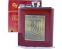 Фляга из нержавеющей стали обтянута кожей Украина TP-16, 454 мл