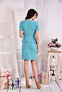 Женский элегантный костюм двойка 0547 цвет голубой размер 42-74, фото 2