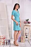 Женский элегантный костюм двойка 0547 цвет голубой размер 42-74, фото 4