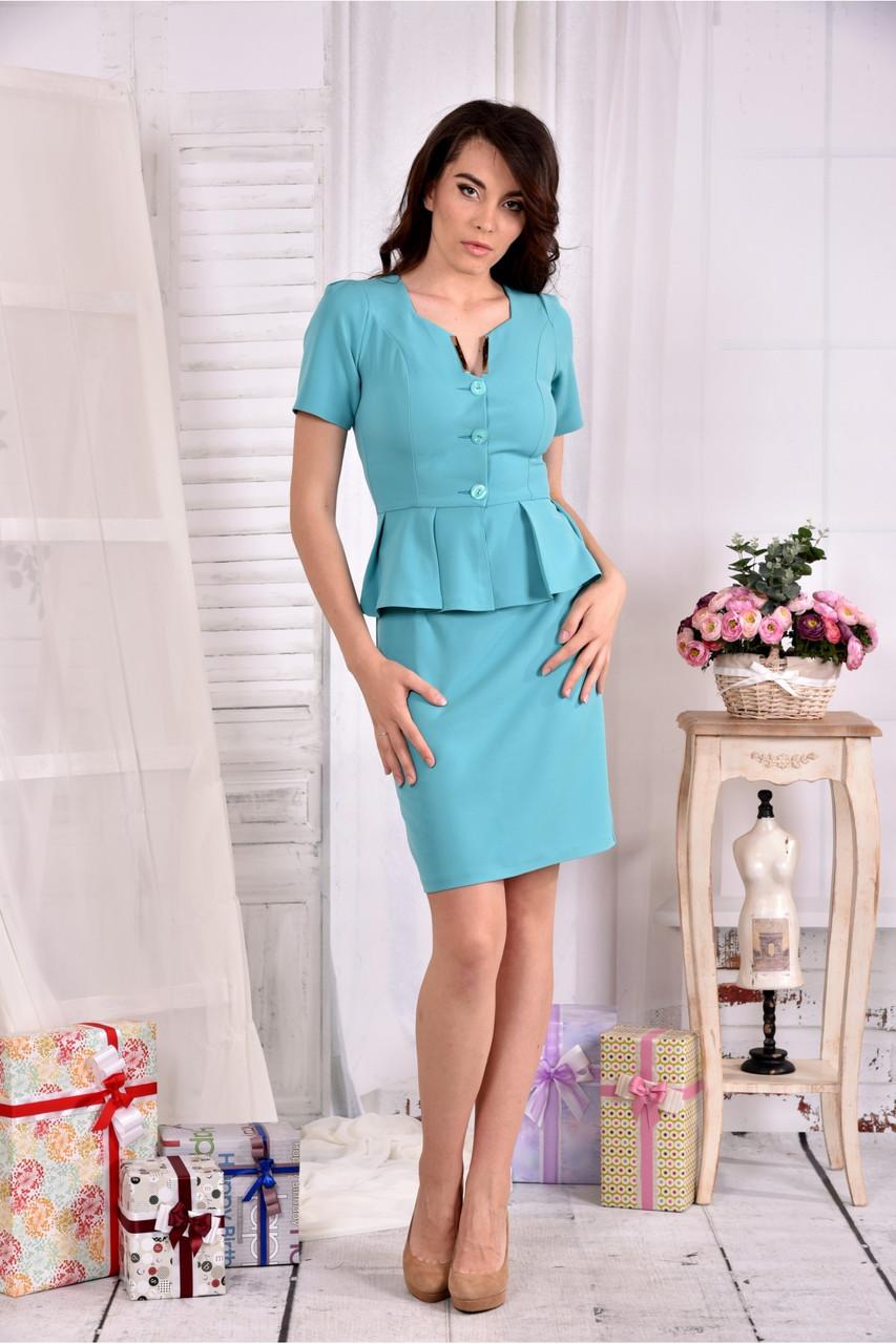 Женский элегантный костюм двойка 0547 цвет голубой размер 42-74
