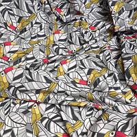 Ткань хлопок с Какаду на серых листьях № 082