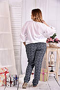 Женская блуза на лето 0546 цвет белый размер 42-74, фото 2