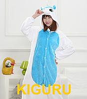 Пижама кигуруми единорог голубого цвета S (150-160cm)