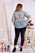 Женская летняя красивая блуза на лето мятного цвета 0544 размер 42-74, фото 2