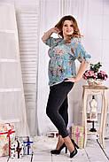 Женская летняя красивая блуза на лето мятного цвета 0544 размер 42-74, фото 4