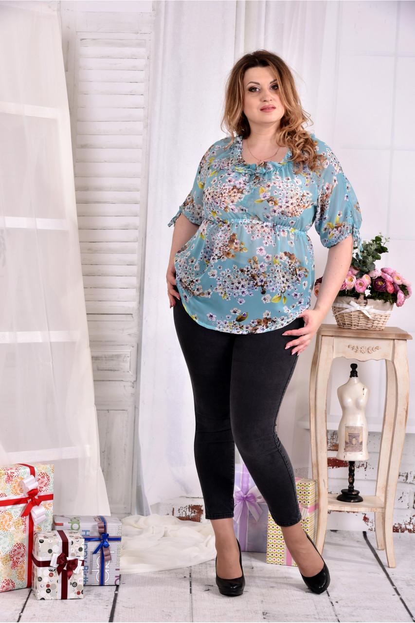Женская летняя красивая блуза на лето мятного цвета 0544 размер 42-74