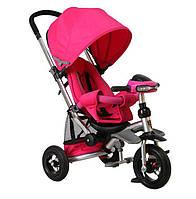 Велосипед-коляска Azimut Crosser T-350 надувные колеса, фара, розовый