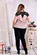 Женская летняя шифоновая блуза 0544 цвет пудра размер 42-74, фото 2